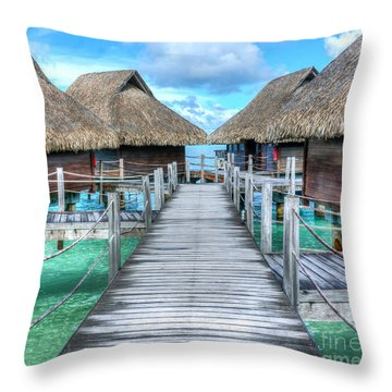 Tropical Resort Paradise Seascape Florida Keys 01 Throw Pillow