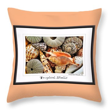 Tropical Shells... Greeting Card Throw Pillow by Kaye Menner