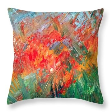 Tropical Stained Glass Throw Pillow