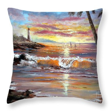 Tropical Sunset Throw Pillow by Lee Piper