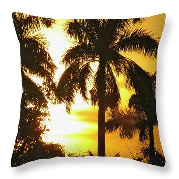 Tropical Sunset Palm Throw Pillow