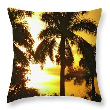 Tropical Sunset Palm Throw Pillow