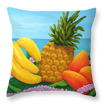 Tropical Trinity Throw Pillow by Pamela Allegretto