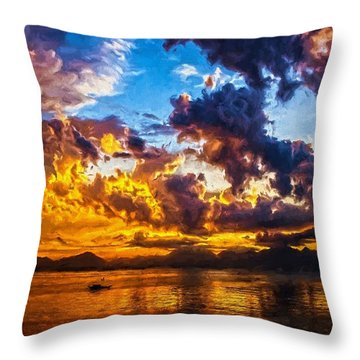 Tropical Twilight I Throw Pillow