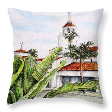 Tropical View Arlington Theater Santa Barbara Throw Pillow