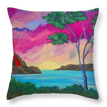 Tropical Volcano Throw Pillow