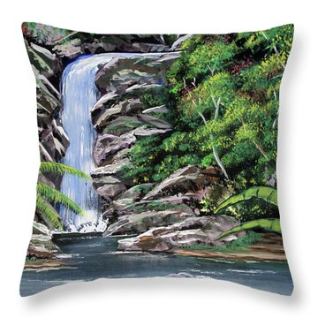 Tropical Waterfall 2 Throw Pillow by Luis F Rodriguez