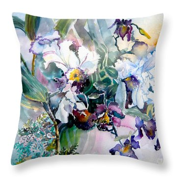 Tropical White Orchids Throw Pillow by Mindy Newman