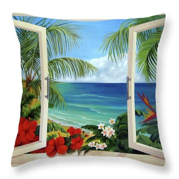 Tropical Window Throw Pillow