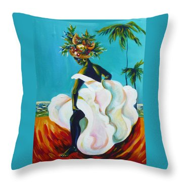 Throw Pillow featuring the painting Tropicana by Anna  Duyunova