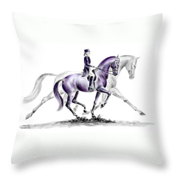 Throw Pillow featuring the drawing Trot On - Dressage Horse Print Color Tinted by Kelli Swan