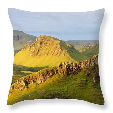 Trotternish Summer Morning Panorama Throw Pillow