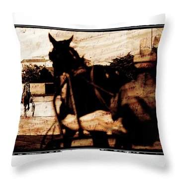 Throw Pillow featuring the photograph trotting 1 - Harness racing in a vintage post processing by Pedro Cardona