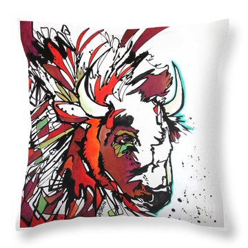 Throw Pillow featuring the painting Trouble by Nicole Gaitan