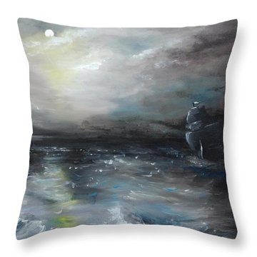 Throw Pillow featuring the painting Troubled Waters by Isabella F Abbie Shores FRSA