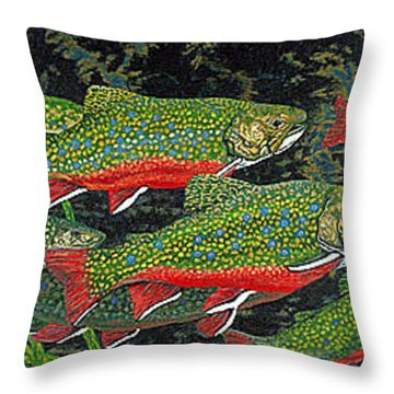 Trout Art Brook Trout Fish Artwork Giclee Wildlife Underwater Throw Pillow by Baslee Troutman