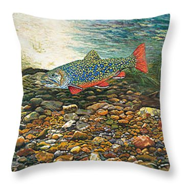 Trout Art Fish Art Brook Trout Suspended Artwork Giclee Fine Art Print Throw Pillow by Baslee Troutman