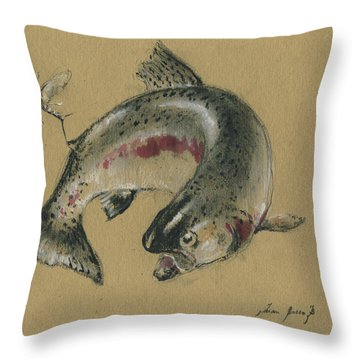 Trout Eating Throw Pillow