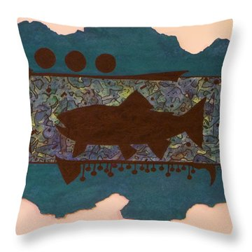 Trout Silhouette Throw Pillow