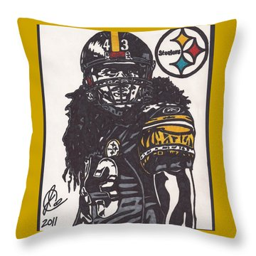 Throw Pillow featuring the drawing Troy Polomalu 1 by Jeremiah Colley