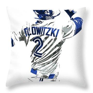 Throw Pillow featuring the mixed media Troy Tulowitzki Toronto Blue Jays Pixel Art 2 by Joe Hamilton