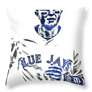 Throw Pillow featuring the mixed media Troy Tulowitzki Toronto Blue Jays Pixel Art by Joe Hamilton