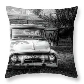 Truck And Cows Living Together Bw Throw Pillow