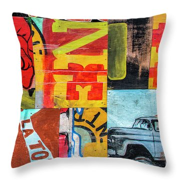 Truck And Roses Throw Pillow