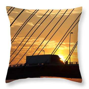 Truck Crossing The Mississippi River Throw Pillow
