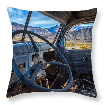 Truck Desert View Throw Pillow by Peter Tellone