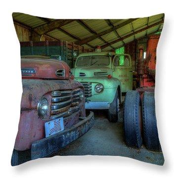 Truck Graveyard Warehouse Throw Pillow