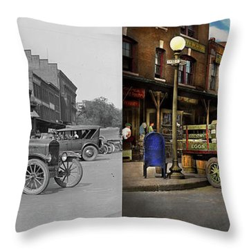 Throw Pillow featuring the photograph Truck - Home Dressed Poultry 1926 - Side By Side by Mike Savad