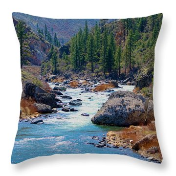 Truckee River Floristine Throw Pillow