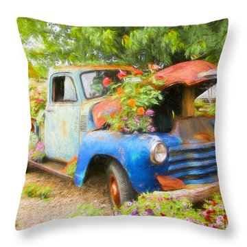 Throw Pillow featuring the photograph Truckful Of Flowers by Clare VanderVeen