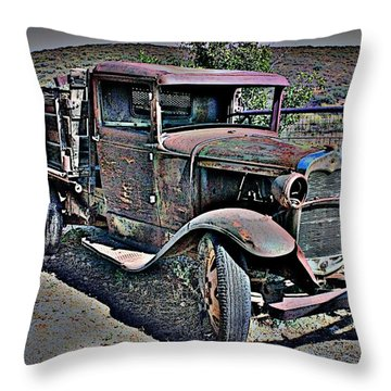 Truckin' Green Acres Style 2 Throw Pillow by Natalie Ortiz