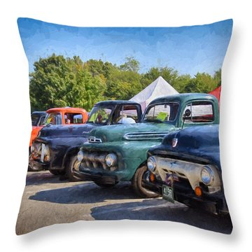 Trucks On Display Throw Pillow by Tricia Marchlik
