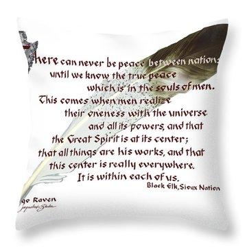 True Peace By Black Elk Throw Pillow