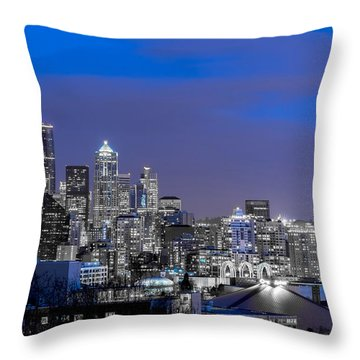 True To The Blue In Seattle Throw Pillow