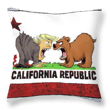 Trump And California Face Off Throw Pillow