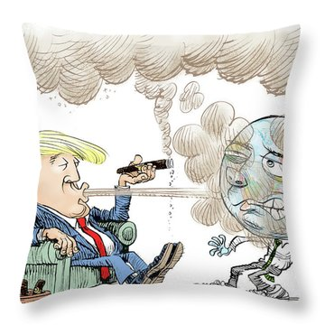 Trump And The World On Climate Throw Pillow