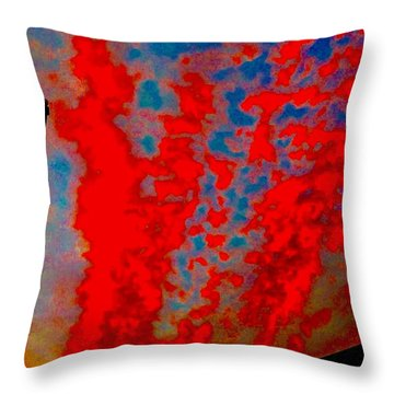 Trump Red Sunset Meets American Flag Throw Pillow
