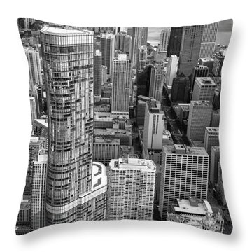 Throw Pillow featuring the photograph Trump Tower And John Hancock Aerial Black And White by Adam Romanowicz
