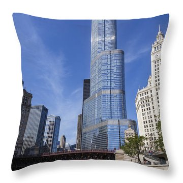 Trump Tower Chicago Throw Pillow by Adam Romanowicz