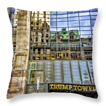 Throw Pillow featuring the photograph Trump Tower With Reflections by Walt Foegelle