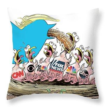 Trump Twitter And Tv News Throw Pillow