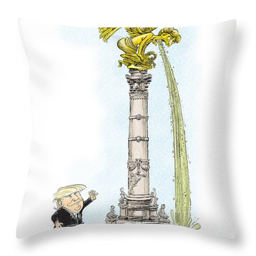 Trump Visits Mexico Throw Pillow