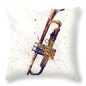 Trumpet Abstract Watercolor Throw Pillow