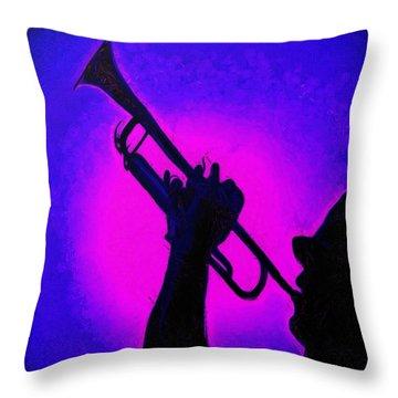 Trumpet Blue - Da Throw Pillow