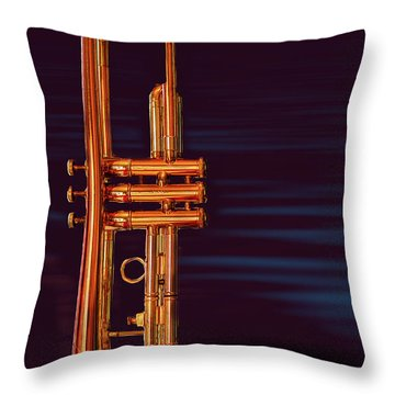 Trumpet-close Up Throw Pillow by Tim Bryan