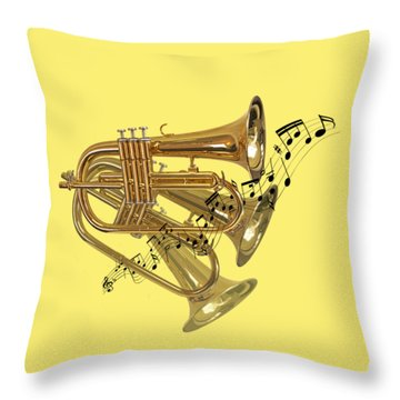 Trumpet Fanfare Throw Pillow